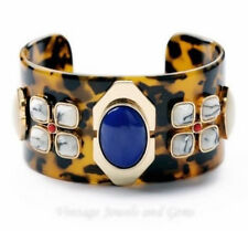 BLACK BROWN FAUX TORTOISE SHELL LAPIS BLUE Chunky Cuff Bangle Statement Bracelet