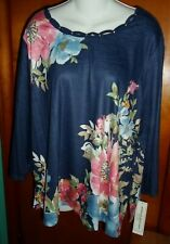 Alfred Dunner Navy Floral Top 2X 3/4 Sleeve New