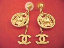 Chanel CC logos w/ button dangle long drop pierced earrings