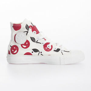 Converse Women Chuck Taylor Hi Cherry White Red Lace Up Canvas Trainer Size 3.5