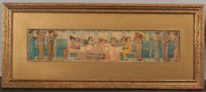 Antique WILLIAM KLINE Allegorical Neoclassical Grecian Party Watercolor Painting