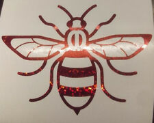 Manchester Bee car van window sticker decal vinyl  glitter red