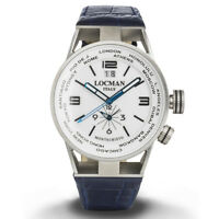 Locman Montecristo World orologio uomo Dual time blu cassa in acciaio e titanio
