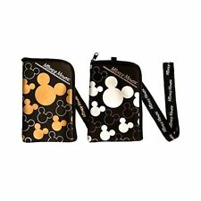 Disney Mickey Mouse Black Lanyard Cell Phone ID  Holder Case Coin -2PC