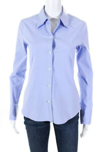 Theory Womens Cotton Collared Button Down Shirt Light Blue Size S