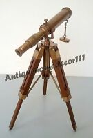 VINTAGE ANTIQUE MARITIME DECOR NAUTICAL BRASS TELESCOPE WITH WOODEN TRIPOD STAND
