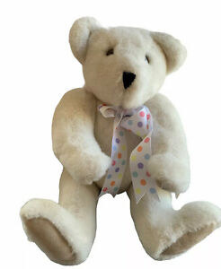 """VERMONT TEDDY BEAR CO Vintage 1992 Ivory Bear Jointed 20"""" Plush NWT Made USA"""