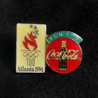 Vintage 1996 Coca-Cola Atlanta Olympic Lapel hat Pin Good Used Condition