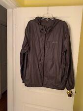 Eddie Bauer Windbreaker Jacket Gray Men's Lightweight Zip Front Hoodie Sz L~ EUC