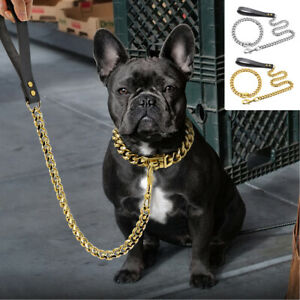 Heavy Duty Dog Chain Collar and Lead Stainless Steel Choke Cuban Link Necklace