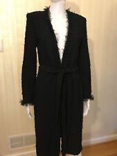 St. Jacket Long Jacket Sweater Coat Black Fringe Size 4