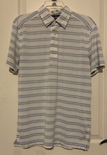 Tommy Hilfiger Mens Golf Polo - White Blue Stripes Preowned Medium