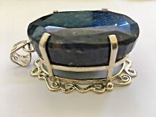 364.11 CT Oval Pendant Blue Sapphire Sterling Silver Charm Pendant