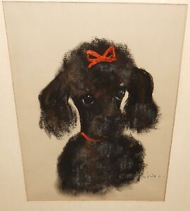 EMILIE TOURAINE BLACK POODLE WITH RED RIBBON ORIGINAL PASTEL PAINTING DATED 1961