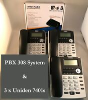 HOME SMALL OFFICE PBX 308 TELEPHONE SYSTEM AND 3 X BT Phones