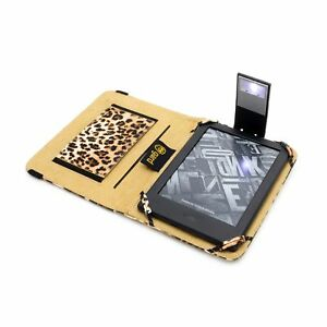 LEOPARD PU LEATHER CASE COVER FOR AMAZON KINDLE WiFi WITH SLIM READING LIGHT