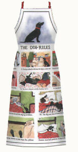 """Annie Tempest  Humorous Cotton Apron   by McCaw Allan """"Dog Rules"""""""