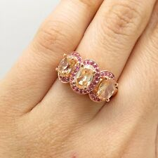 Signed 925 Silver Rose Tone Real Pink Sapphire Citrine Gem Ring Size 5 1/4