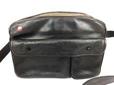 Vintage Leica Leather Camera Bag Leitz Germany Black Compartments Shoulder Strap