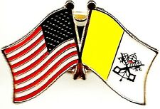 Lot Of 3 Vatican City Friendship Flag Lapel Pins- Vatican City Crossed Flag Pin