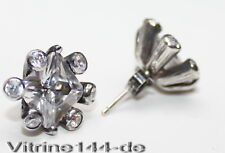 edle silberne Ohrstecker Sterlingsilber Zirkonia und Spinell weiß 925er Silber