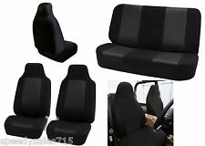 Black Classic Cloth Car Seat Covers Front & Rear Bucket Seat New Free Shipping