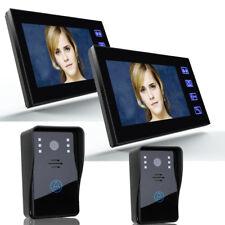 "7"" Wired LCD Color Video Door Phone Doorbell Home Security 2 IR Camera 2 Monitor"