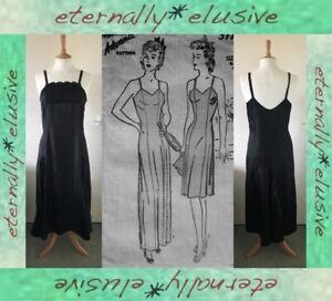 Antique 20s 30s Vintage Silky Full Slip UnderDress Negligee Nightie NightDress M