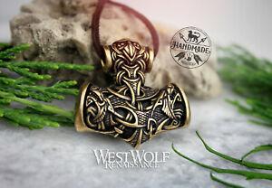 "Viking ""Mjolnir"" Hammer Pendant with Odin's Wolves & Triquetra Design -- Bronze"