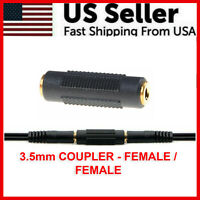 "Stereo 3.5mm Aux Female to Female 1/8"" F/F Jack Audio Coupler Adapter Converter"