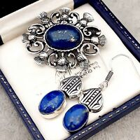 Vintage Style Blue Lapis Lazuli Gemstone Celtic Scottish Thistle Pewter Brooch