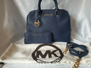 Michael Kors Handbag And Wallet excellent Navy Blue
