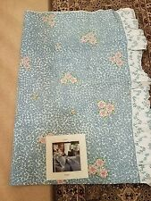 "Barbara Brody Martex Blue Pink Floral Ruffled ""TWIN"" Sheet"