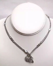 Juicy Couture Silver Double Strand Crystal Heart Crown & Key Charm Necklace