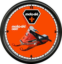 Moto Ski Cadet Sled Snowmobile Racing Retro Vintage Dealer Sales Sign Wall Clock