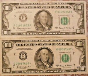 1963-A $100 United States Federal Reserve Notes: Lot of Two (One Star Note)