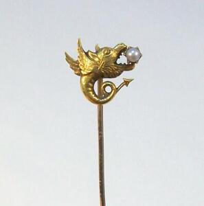 Fine Vintage Estate 14K Yellow Gold GRIFFIN with Real PEARL Stick Pin