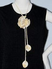 New Handmade Crochet Yellow Single Carnation Flower Scarf Necklace Lariat