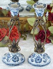 Kerzenleuchter Barock Porzellan Bronze Leuchter Kerzenständer Kerzenhalter Antik