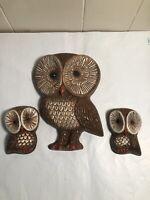 "Vintage 1980s Hard Foam Mama Owl/Baby Owls Wall Decor  3.5""   7.5"""