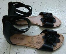 Sandali donna, neri, n. 40, cinturini alla caviglia, cerniera sul retro