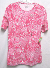 MOUNTAIN LAKE Medium 10 12 top shirt blouse Bust 42 Pink & White Multi NEW NWT