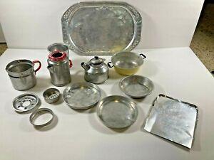 Vintage toy tea set metal pan Bo-Peep coffee pot dishes Easy-Bake Cooky aluminum
