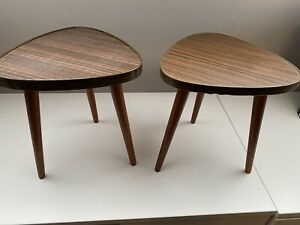Pair of Formica Atomic Vintage Mid Century Side Tables Stands Dansette Legs