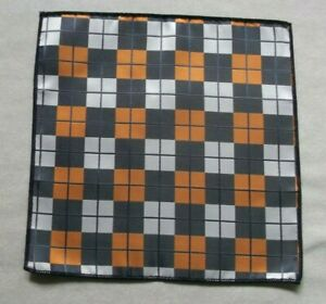 Hankie Pocket Square Handkerchief Hanky MENS Slate Grey Orange Geometric Checked