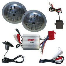 """Complete MP3 w/ 100 Watt Amp and Pyle 5.25"""" Black Speakers For Golf carts"""