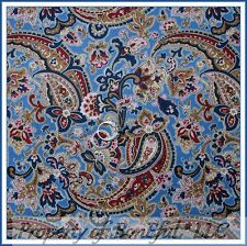 BonEful FABRIC FQ Cotton Quilt Navy Blue Paisley Flower Country Colonial House