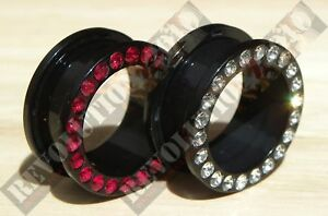 Acrylic Flesh Tunnel with Crystals Choose Size & Colour