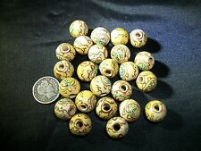 3 Peruvian 12mm Hand Painted  Round Beads