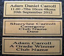 Personal Plaques births, sports ect design your own up to 3 lines ***Free Post
